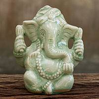Celadon ceramic figurine, 'Faithful Ganesha' - Hand Crafted Celadon Ganesha Statuette from Thailand