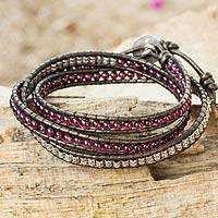 Leather and garnet wrap bracelet, 'Peace' - Fair Trade Leather Garnet and Silver Handcrafted Bracelet