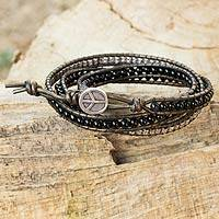 Leather and onyx wrap bracelet, 'Peace' - Leather Onyx Beaded Fine Silver Wrap from Thailand