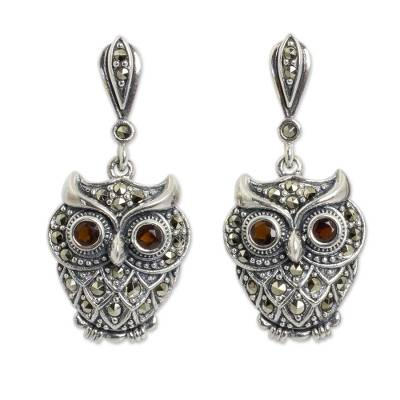 Thai Silver and Marcasite Owl Earrings with Garnet