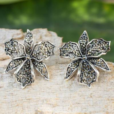 Marcasite button earrings, 'Jungle Orchid' - Fair Trade Sterling Silver Earrings with Marcasite