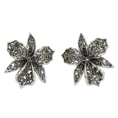 Fair Trade Sterling Silver Earrings with Marcasite