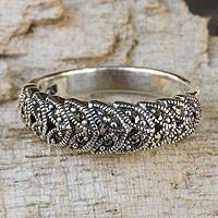 Marcasite cocktail ring, 'Olive Garland' - Handcrafted Marcasite and Sterling Silver Cocktail Ring