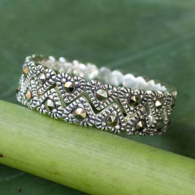 Marcasite stacking rings, Harmonious Love (pair)