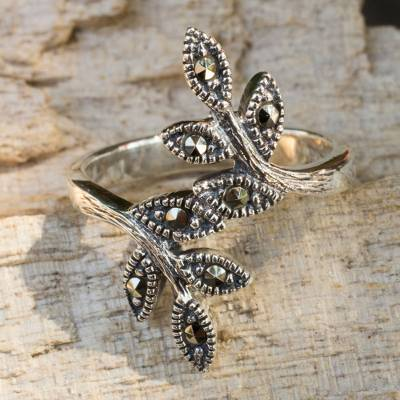 Marcasite cocktail ring, 'Olive Bough' - Marcasite and Silver Cocktail Ring