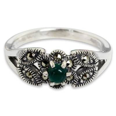 Thai Marcasite and Green Agate Cocktail Ring