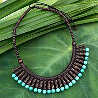 Coconut shell waterfall necklace,