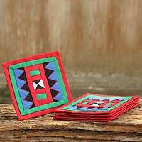 Lahu cotton coasters, 'Festivities' (set of 6) - Handwoven Lahu Hill Tribe Red and Green Cotton Coasters