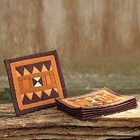 Lahu cotton coasters, 'Rejoicing Earth' (set of 6) - Handwoven Lahu Hill Tribe Brown Cotton Coasters