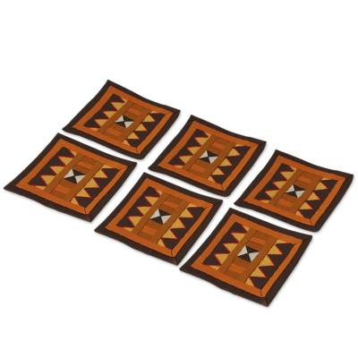 Handwoven Lahu Hill Tribe Brown Cotton Coasters