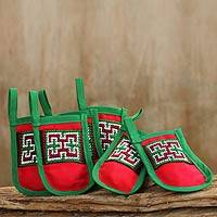 Hmong cotton blend ornaments, 'Christmas Stockings' (set of 6) - Hmong Hill Tribe Embroidered Christmas Ornaments (Set of 6)