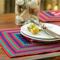Cotton placemats, 'Festivities' (set of 4) - Handwoven Lahu Hill Tribe Cotton Placemats (set of 4)