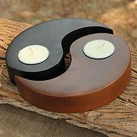 Wood tealight candleholders, 'Light of Yin Yang' (pair) - Hand-carved Wood Tealight Candleholders (pair)