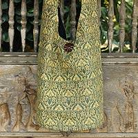 Cotton sling bag, 'Golden Forest' - Green and Gold Thai Cotton Sling Tote Bag