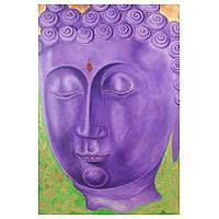 'Buddhist Faith II' - Purple Buddha Painting Signed Thai Fine Arts