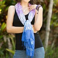 Tie-dyed scarf, 'Fabulous Amethyst' - Blue and Purple Tie Dye Silk Blend Scarf