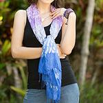 Blue and Purple Tie Dye Silk Blend Scarf, 'Fabulous Amethyst'