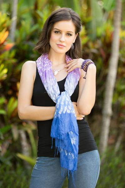 Tie-dyed scarf, Fabulous Amethyst