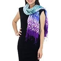Tie-dyed scarf, 'Fabulous Purple' - Purple and Green Tie Dye Silk Blend Scarf