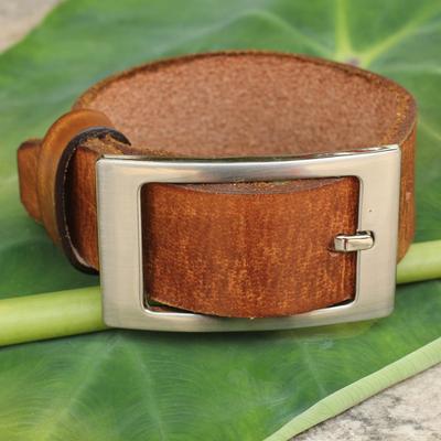 Men's leather wristband bracelet, 'Courage' - Men's Tan Leather Wristband Bracelet