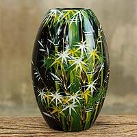 Lacquered wood decorative vase, 'Green Bamboo Forest' - Handpainted Thai Lacquered Wood Decorative Vase