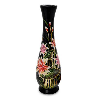 Lacquered wood decorative vase, 'Lotus Paradise' - Handcrafted Lacquer Wood Decorative Thai Vase