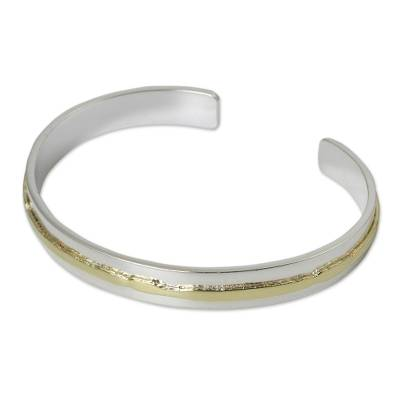 Gold Accent Sterling Silver Matte Cuff Bracelet
