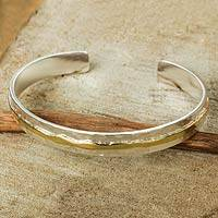 Gold accent sterling silver cuff bracelet, 'Ripple Effect I' - Silver and Gold Accent Cuff Bracelet from Thailand