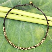 Beaded necklace, 'Thai Light' - Artisan Crafted Brass Beaded Necklace