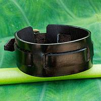 Men's leather wristband bracelet, 'Lanna Warrior in Black' - Men's Artisan Crafted Leather Wristband Bracelet