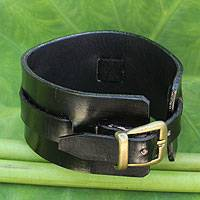 Men's leather wristband bracelet, 'Wider Lanna Warrior in Black' - Men's Artisan Crafted Leather Wristband Bracelet