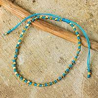 Gold accent beaded bracelet, 'Sky Blue Boho Chic' - Fair Trade Handcrafted Gold Accent Macrame Bracelet