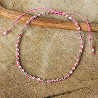 Silver plated beaded bracelet, 'Rose Boho Chic' - Artisan Crafted Silver Plated Macrame Bracelet
