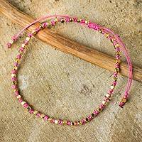Gold accent beaded bracelet, 'Rose Boho Chic' - Fair Trade Handcrafted Gold Accent Macrame Bracelet