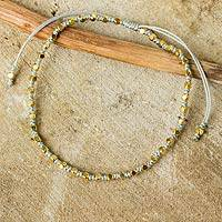 Gold accent beaded bracelet, 'Grey Boho Chic' - Fair Trade Handcrafted Gold Accent Macrame Bracelet