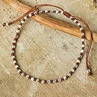 Silver accent beaded bracelet, 'Brown Boho Chic' - Artisan Crafted Silver Plated Macrame Bracelet