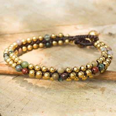 Jasper beaded bracelet, 'Ethnic Galaxy of Colors' - Fair Trade Handcrafted Jasper and Brass Bracelet