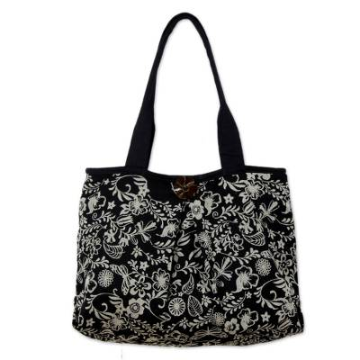 Black and White Floral Cotton Purse