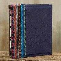 Saa paper photo album, 'Blue Dragon' - Dark Blue Handmade Saa Paper Photo Album