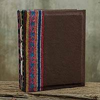 Saa paper photo album, 'Brown Dragon' - Brown Handmade Saa Paper Photo Album