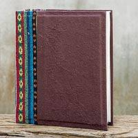 Saa paper photo album, 'Brown Geometry' - Brown Handmade Saa Paper Cotton Trim Photo Album