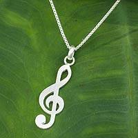 Sterling silver pendant necklace, 'Song of Love' - Music Key Sterling Silver Thai Necklace