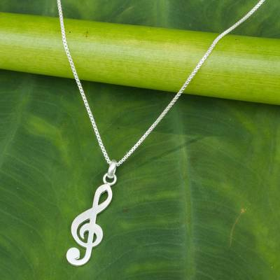 Sterling silver pendant necklace, Song of Love