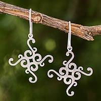 Sterling silver dangle earrings, 'Thai Delicacy' - Fair Trade Earrings Thai Sterling Silver
