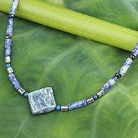 Kyanite and sodalite beaded necklace, 'Precious Ocean' - Handmade Beaded Necklace with Kyanite and Sodalite