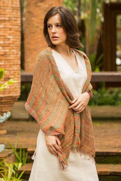 Cotton shawl, 'Breezy Green and Ginger' - Thai Green and Orange Cotton Shawl