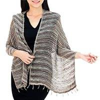 Cotton shawl, Breezy Brown and Grey - Thai Brown and Grey Cotton Shawl