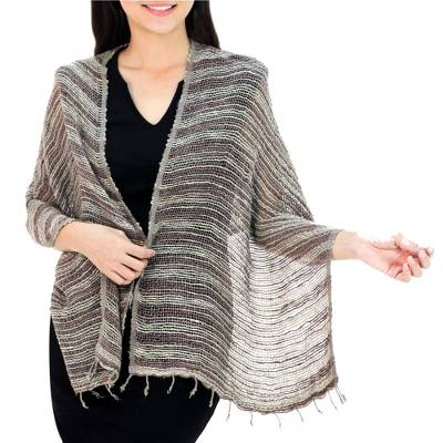 Cotton shawl, 'Breezy Brown and Grey' - Thai Brown and Grey Cotton Shawl