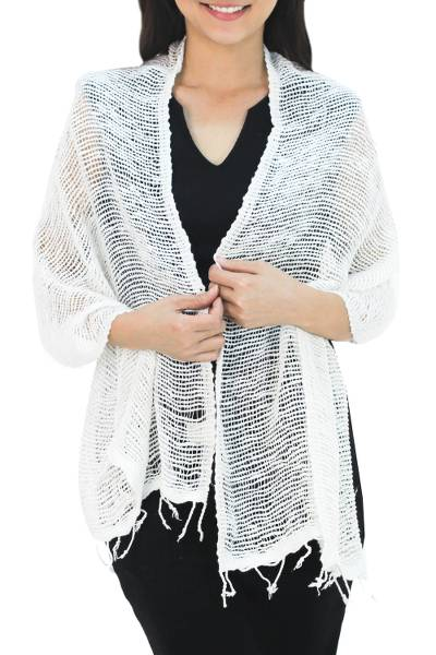 Cotton scarf, 'Breezy White' - Thai White Cotton Scarf