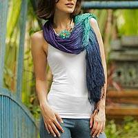 Silk scarf, 'Cool Transition'